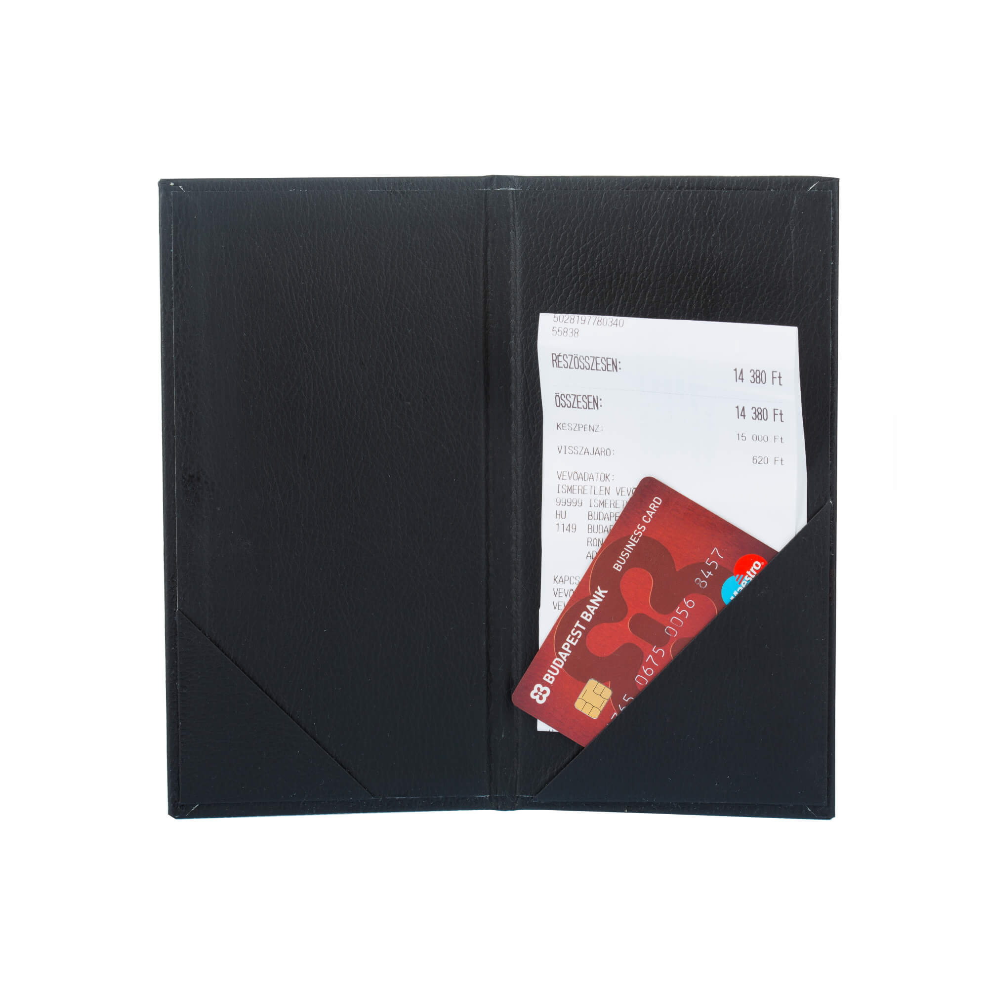 Fekete bőrhatású fizetőmappa, csáró 4