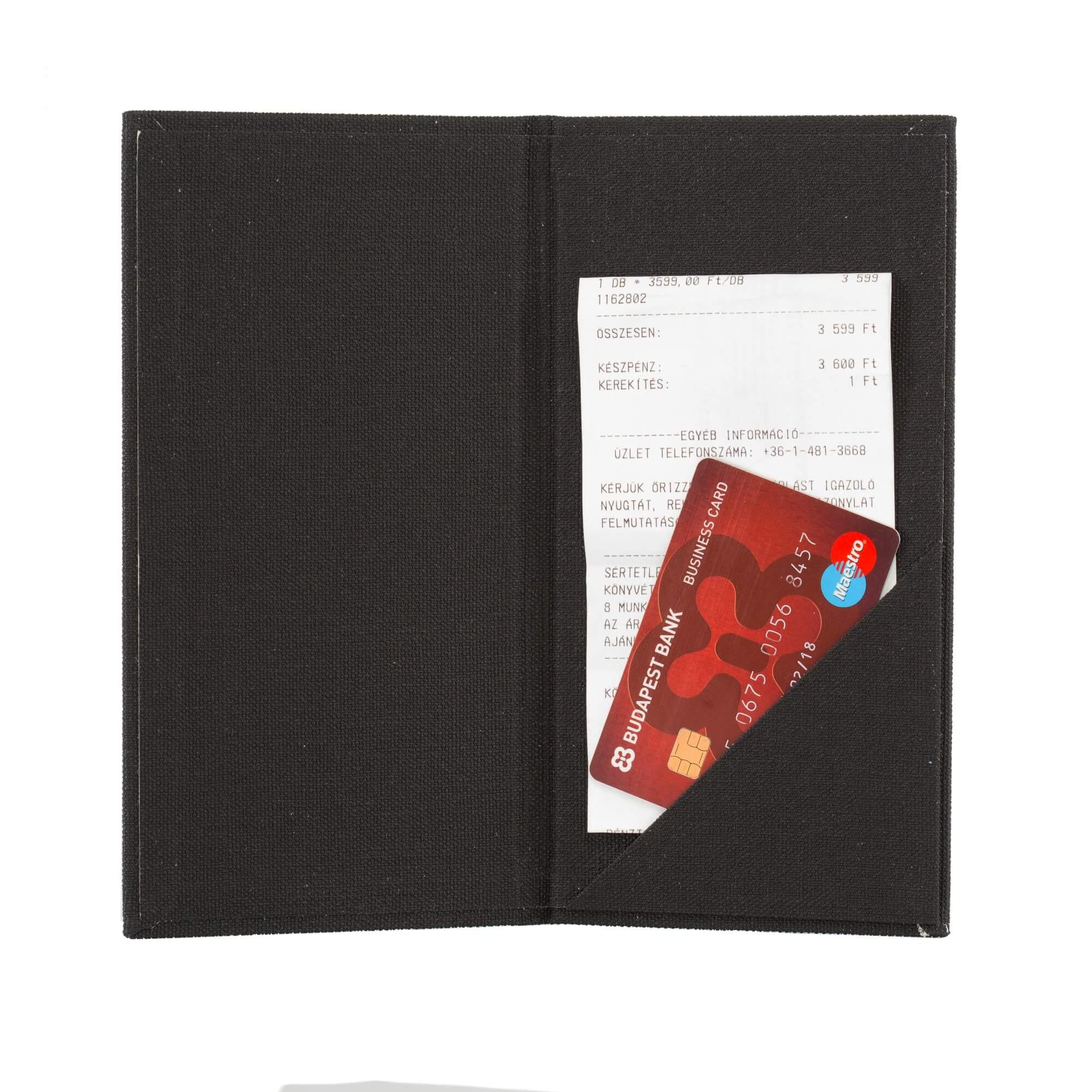 Fekete textilbőr fizetőmappa, csáró 3