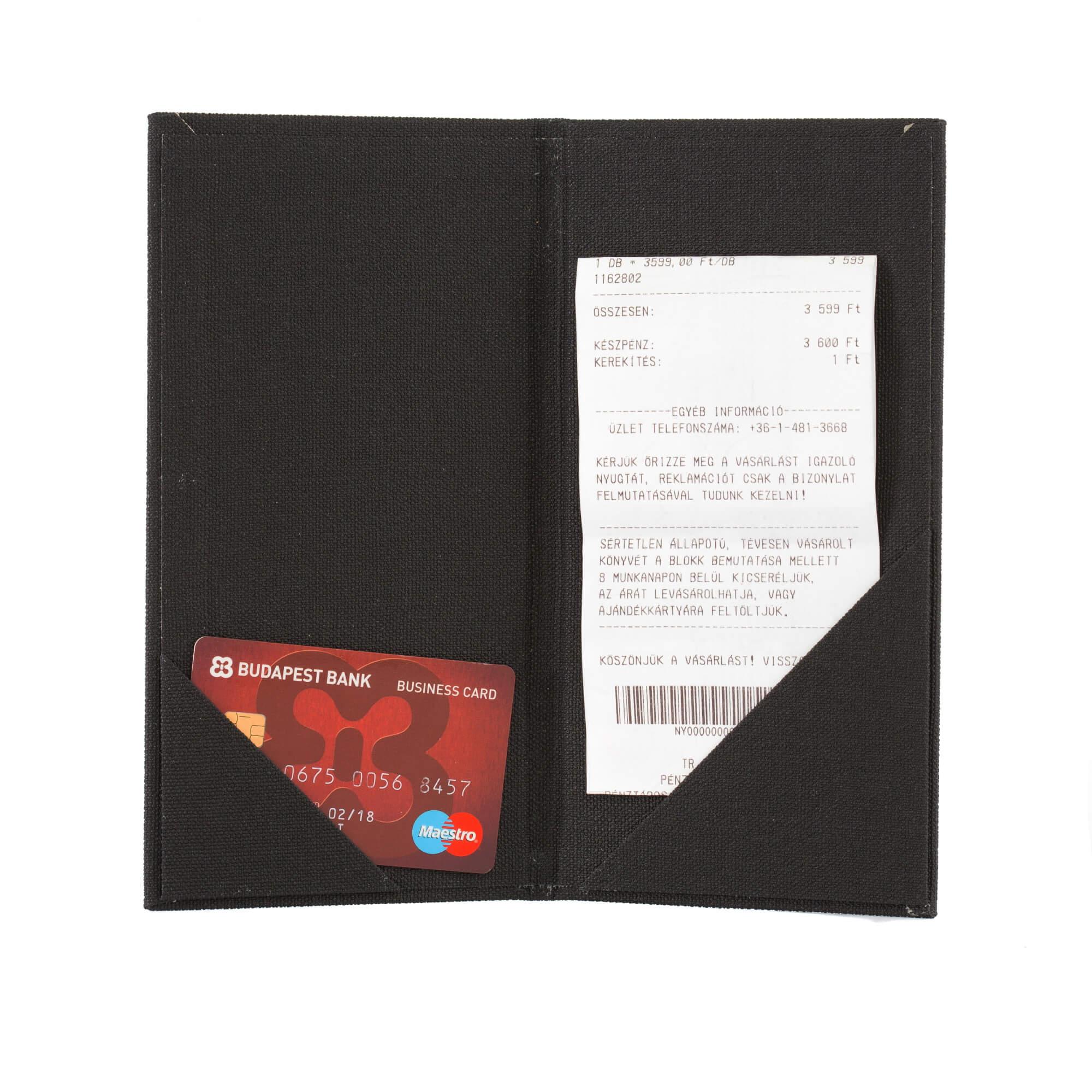 Fekete textilbőr fizetőmappa, csáró 4