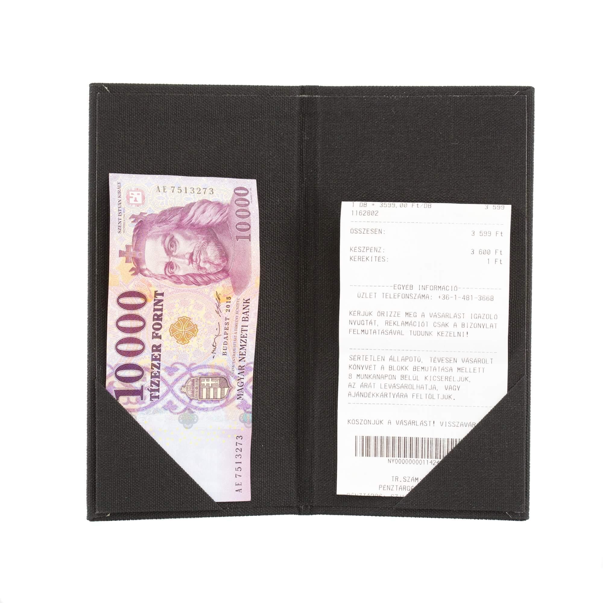 Fekete textilbőr fizetőmappa, csáró 5