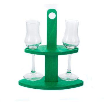 Pálinka szervírozó zöld pohárral