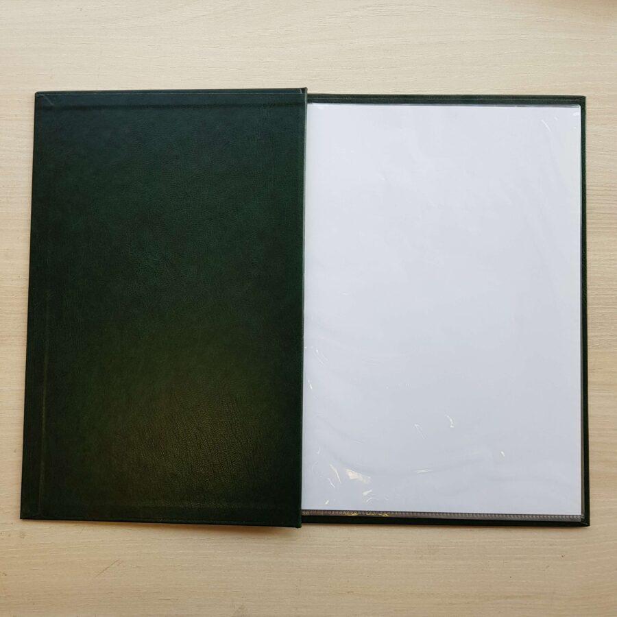 A4 Csavaros zöld étlaptartó genoterm fóliával 2
